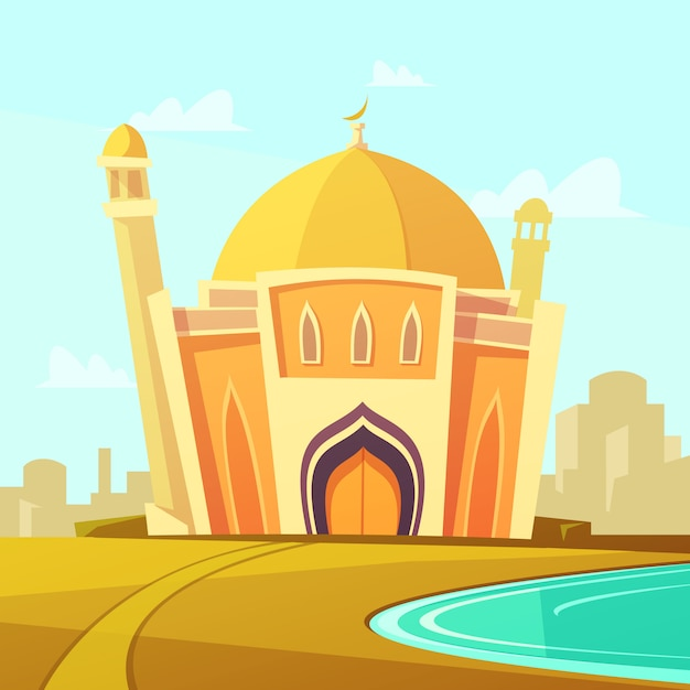 Mosque building with lawn by the river near the city Free Vector