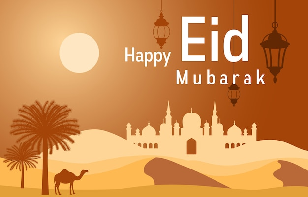 Mosque on desert with date tree camel islamic illustration of happy eid mubarak Premium Vector