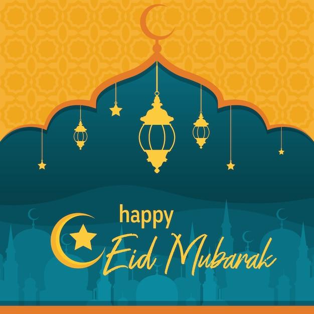 Mosque on desert with lantern islamic illustration of happy eid mubarak Premium Vector