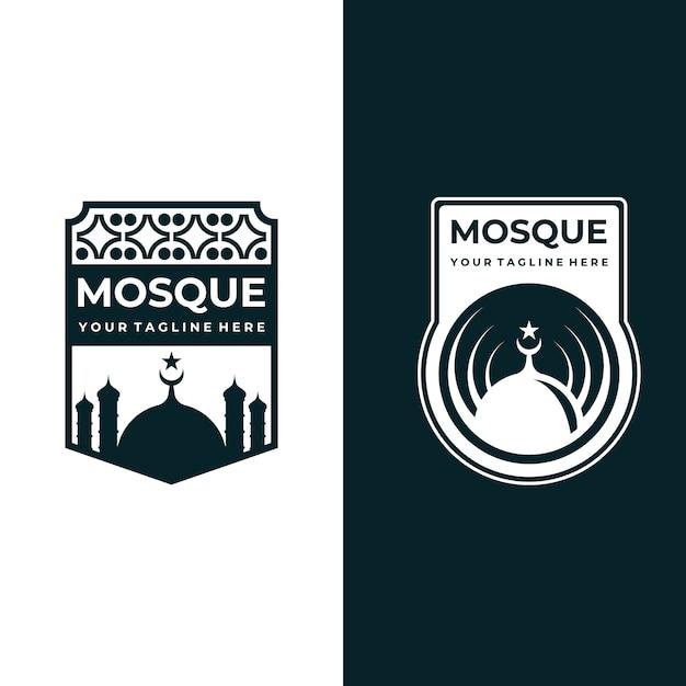 イスラムのイラストデザインのモスクのエンブレム Premiumベクター