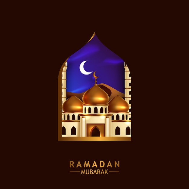 Mosque Golden Dome View At Night From Window Frame