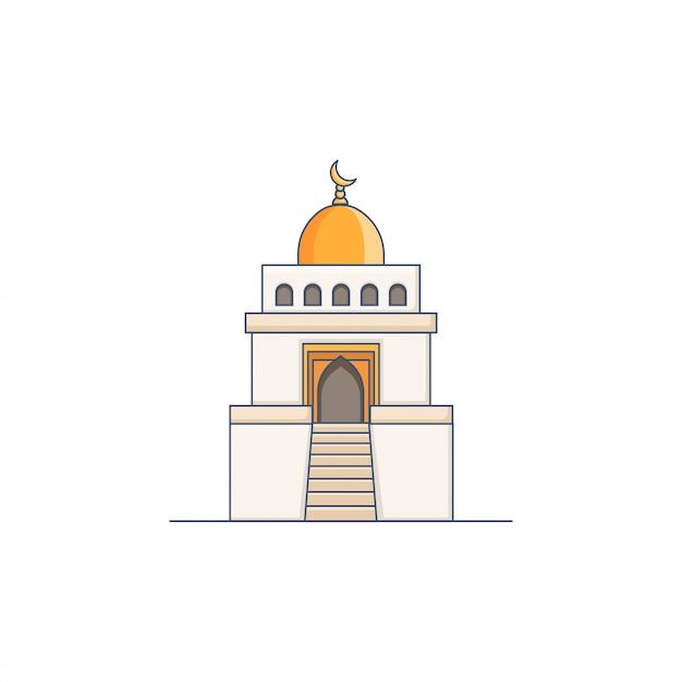 Mosque icon illustration gold dome vector Premium Vector