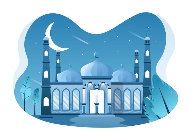 Иллюстрация мечети, место для мусульман, совершающих молитву. эту иллюстрацию можно использовать для веб-сайта, целевой страницы, веб-сайта, приложения и баннера. Premium векторы