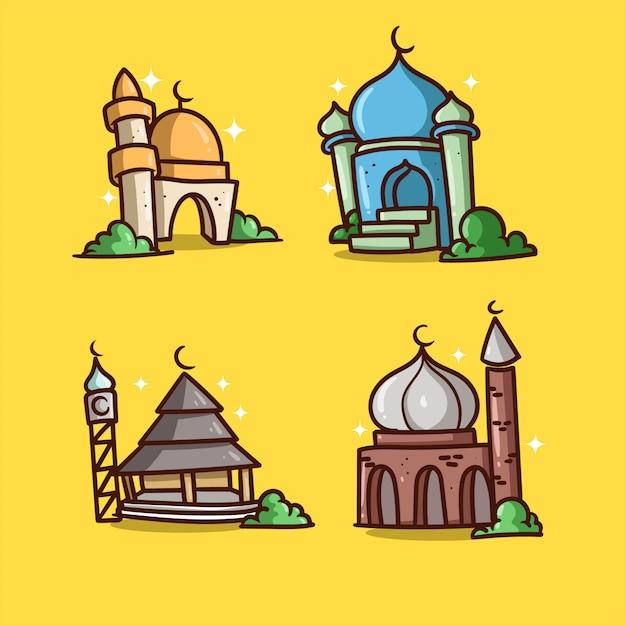 Mosque illustration ramadan Premium Vector
