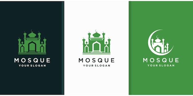 Мечеть исламский логотип шаблон Premium векторы