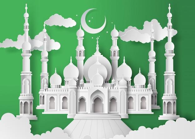 Mosque in the night moon Premium Vector