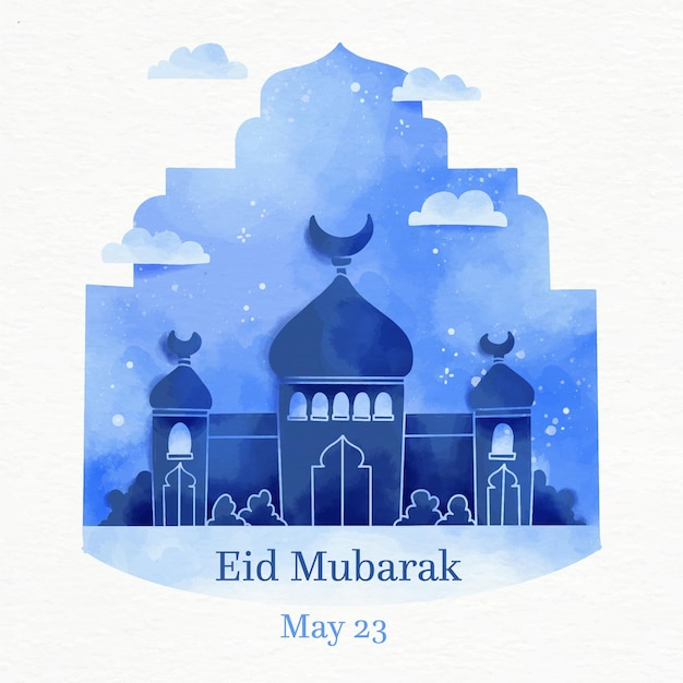 Mosque in the night watercolour eid mubarak Free Vector