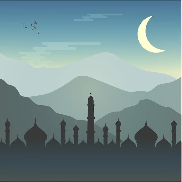 Mosque ramadhan muslim Premium Vector