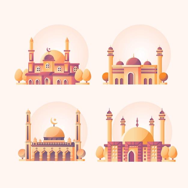 Мечеть набор иллюстрации Premium векторы