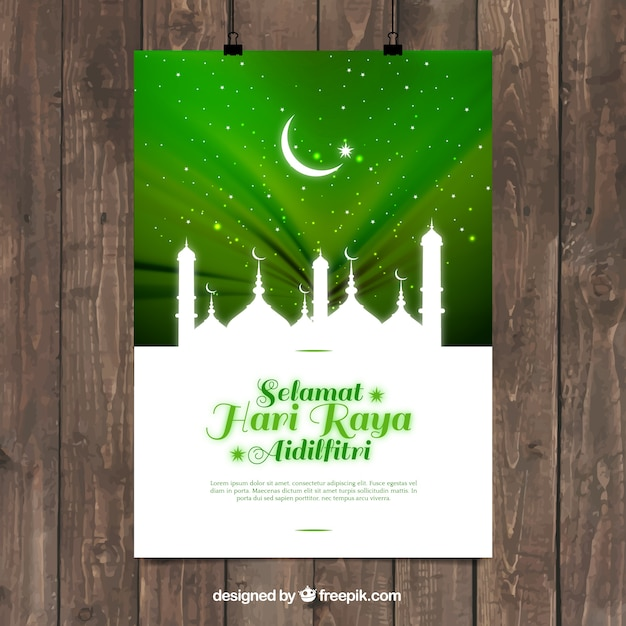Hari raya vectors photos and psd files free download mosque silhouette on bright green background stopboris Gallery