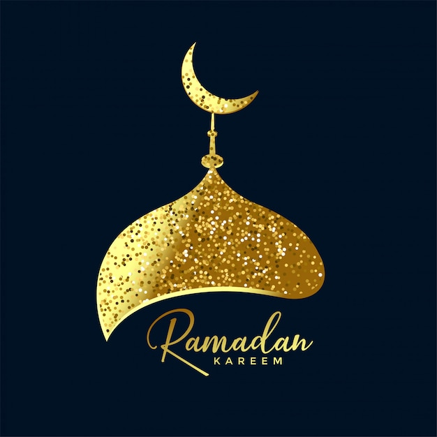 Mosque top made with golden glitter ramadan background Free Vector