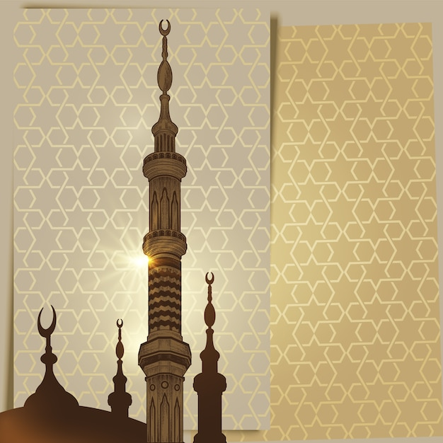 Mosque tower minaret on arabic ornament background Premium Vector