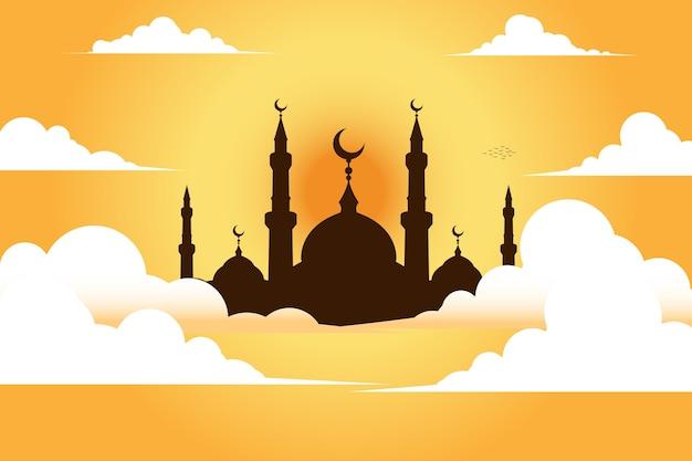 Mosque with sky Premium Vector