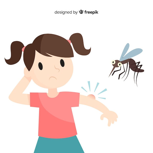 Mosquito biting a person with flat design Free Vector