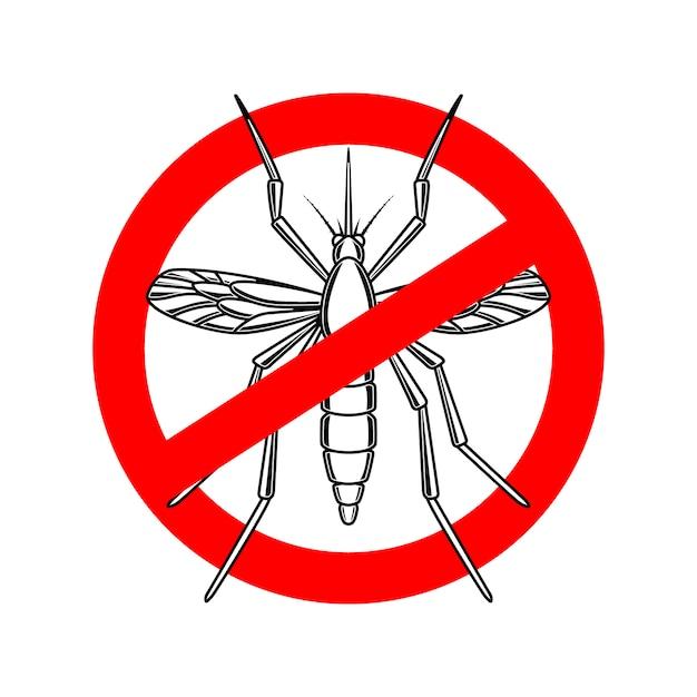蚊危険サインテンプレート。ポスター、カード、エンブレム、ロゴの要素。図 Premiumベクター