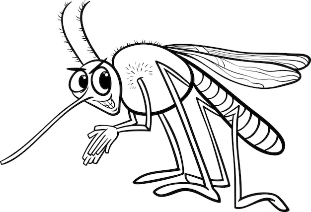 mosquito insect coloring page vector premium
