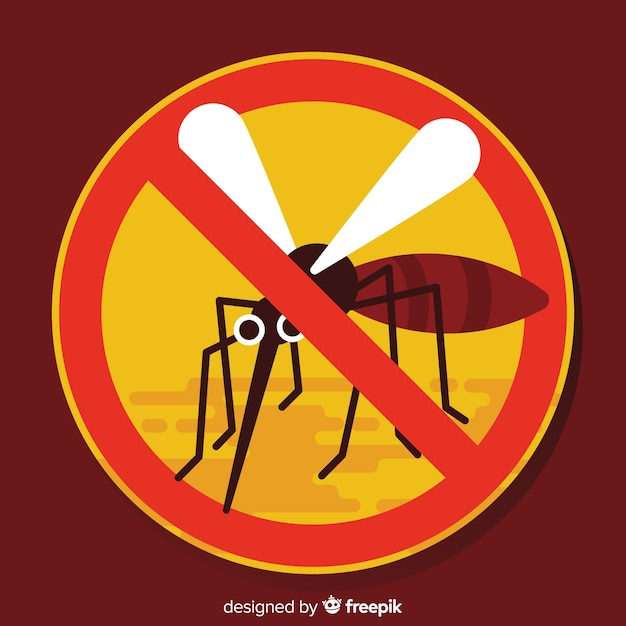 Mosquito warning sign with flat design Free Vector