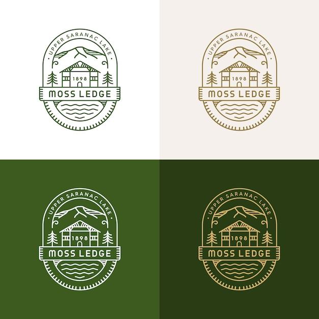 Мосс ледж монолайн логотип Premium векторы