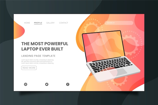 The most powerful laptop landing page template Free Vector