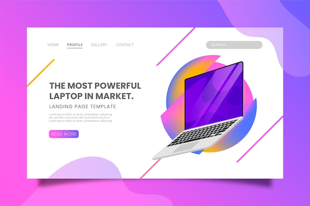 Most powerful laptop in market landing page template Free Vector
