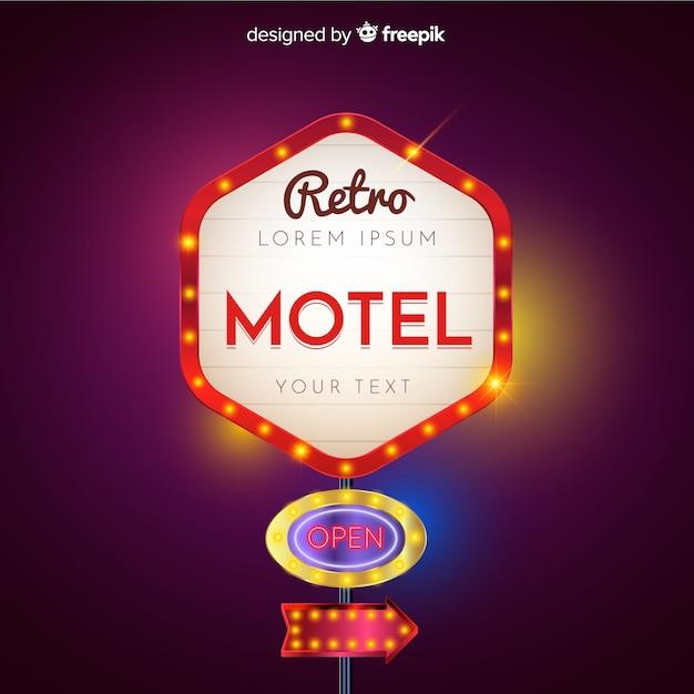 Motel retro light billboard design Free Vector