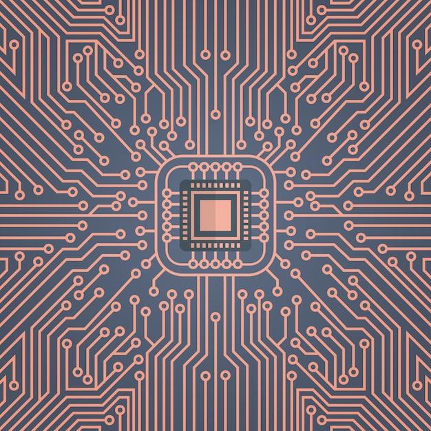 Компьютерная микросхема moterboard network data center концепция системы баннер Premium векторы