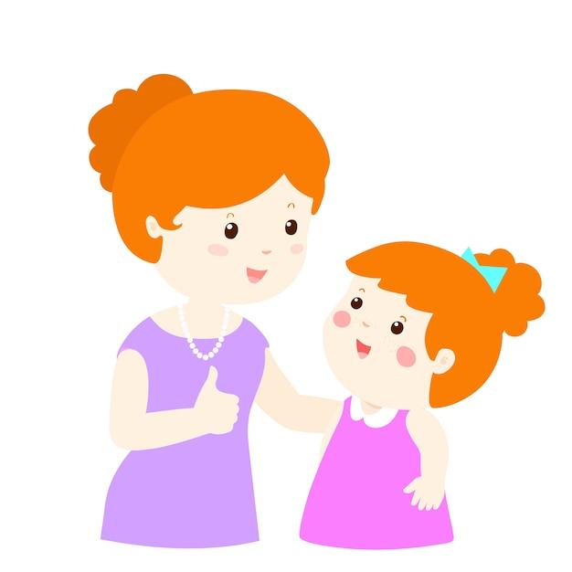 Mother admire daughter Premium Vector