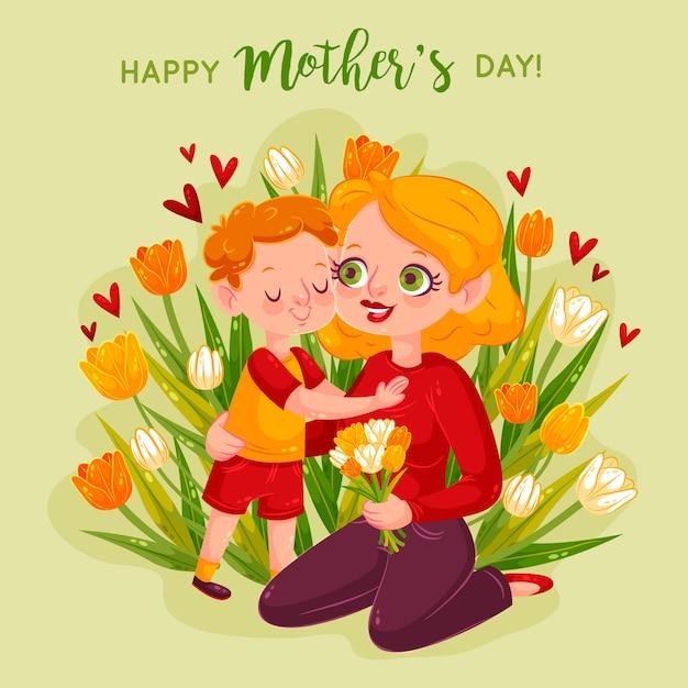 Мать и дитя обнимаются в окружении цветов Бесплатные векторы