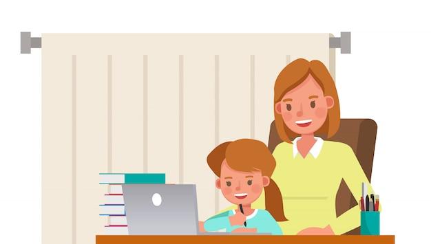 어머니와 딸이 함께 컴퓨터 문자로 학습. 프리미엄 벡터
