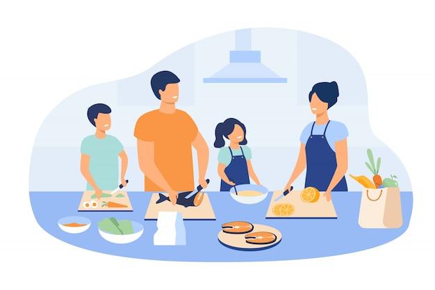 Мать и отец с детьми, готовящие блюда на кухне Бесплатные векторы