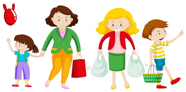 Mother And Kid Go Shopping Illustration Free Vector