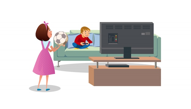 Mother asking son to play ball cartoon vector Premium Vector