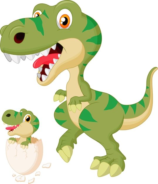Mother and baby dinosaur hatching. vector illustration Premium Vector