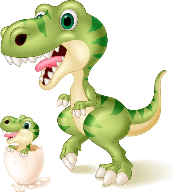 Mother and baby dinosaur hatching Premium Vector