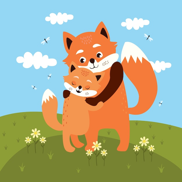 Mother and baby fox hug in the meadow Premium Vector