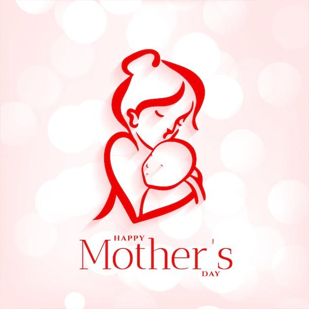 Fondo dell'abbraccio del bambino e della madre per la festa della mamma Vettore gratuito