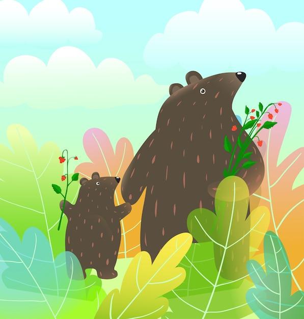 雲の水彩画スタイルのベクトル漫画と森の風景の中を歩く母熊と赤ちゃんカブ動物。 Premiumベクター