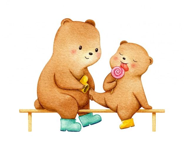 Мать медведь с ее ребенком, сидя на скамейке в дождь сапоги. нежная семейная иллюстрация Premium векторы
