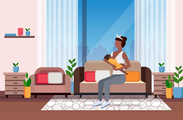 Mother breastfeeding her newborn baby  woman sitting on couch with little child motherhood nutrition lactation concept modern living room interior flat full length Premium Vector