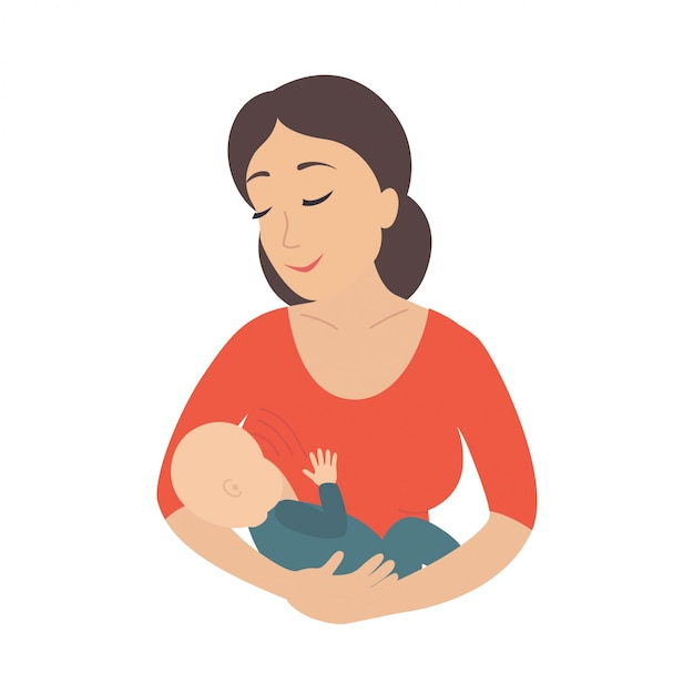 Mother breastfeeding her young child. breastfeed. Premium Vector