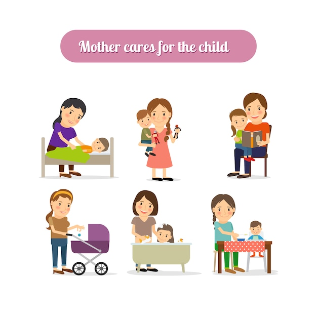 Mother cares for child characters set Premium Vector