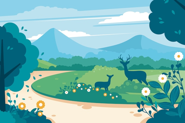 Mother and child deer in the nature landscape Free Vector