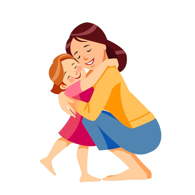 Mother and child. mom hugging her daughter with a lot of love and tenderness Premium Vector