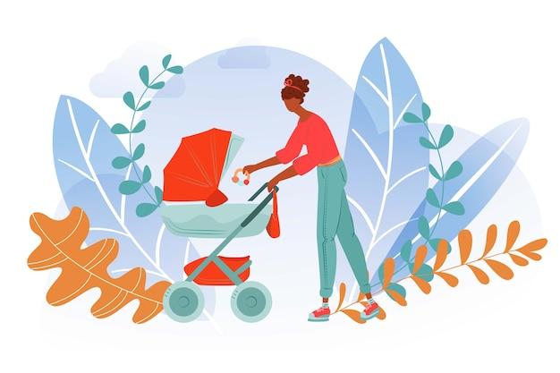 Мать-город ходит ребенка, женщина-коляска вместе, материнская жизнь, счастливая мама, стиль иллюстрации. прогулка перевозки детской коляски, материнство, воспитание детей, на природе. Premium векторы