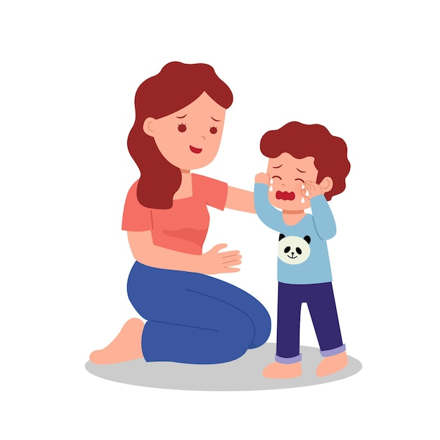 Mother comforting her son crying. parent with children. parenting clip art. Premium Vector