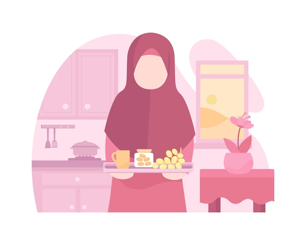 A mother cooking and prepares foods at kitchen Premium Vector