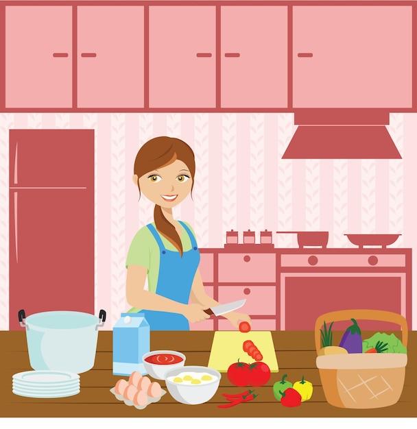 Mother cooking Premium Vector