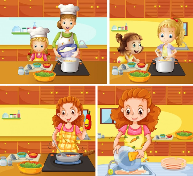 Mother and daughter cooking and cleaning Free Vector