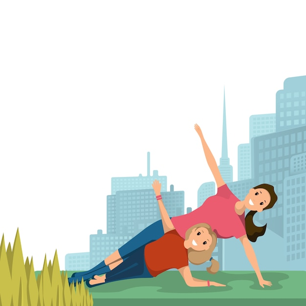 Mother and daughter doing yoga sport city park Free Vector