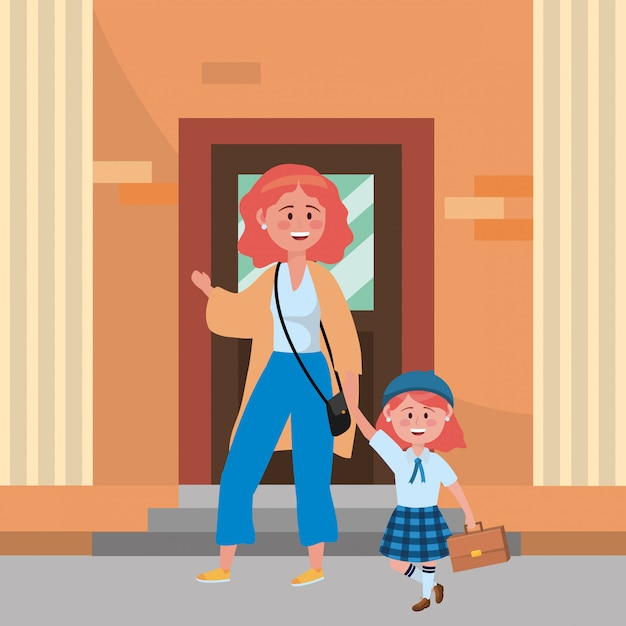 Mother and daughter going to school Free Vector
